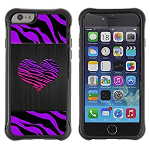 SHIMIN CAO@ Zebra Stripes Heart Brushed Metal Purple Rugged Hybrid Armor Slim Protection Case Cover Shell For iphone 6 6S CASE Cover ,iphone 6 4.7 case,iphone 6 cover ,Cases for iphone 6S 4.7