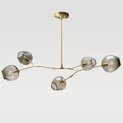 382ef03dafcf 5-Light Modern Chandelier Smoke Color Glass Bubble Ball Lampshade Rotating  Adjustable Ceiling Light,