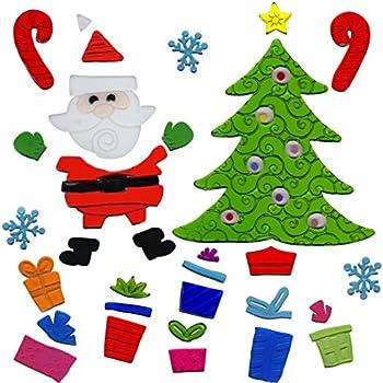 Christmas window clings santa and christmas tree gel charms