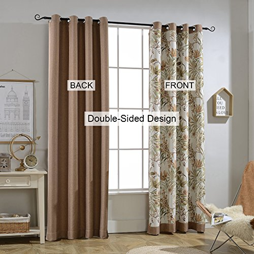 Cheap  Foulola Blackout Thermal Insulated Grommet Curtains,Linen,Creative Double Sided Design (Pure Brown and..