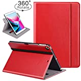 iPad 9.7 Inch 2018/2017 Case,Ztotop [360 Degree Rotating/Genuine Leather] Business Folio Smart Cover with Auto Wake/Sleep,Pencil Holder,Hand strap,for iPad 9.7 2018/2017,iPad Air 2, Red
