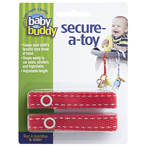 Baby Buddy 2 Piece Secure-A-Toy, Red/White Stitch ()