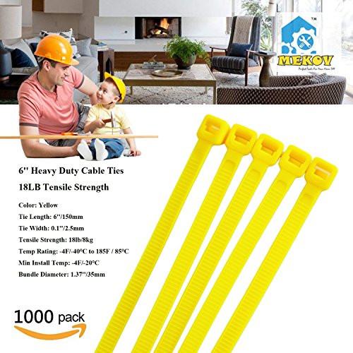 Nylon Cable Ties, Mekov, 6 Inch Heavy Duty Cable Ties, 18-LB Tensile Strength, Zip Ties with 0.1 Inch Width, Durable, Indoor & Outdoor use, UV Resistant (6'', 1000 Pack, Yellow) by Mekov