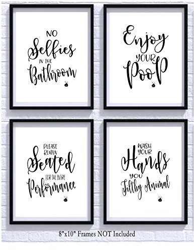 Bathroom Quotes and Sayings Art Prints | Set of Four Photos 8x10 Unframed | Great Gift for Bathroom Decor Bathroom Home Decor