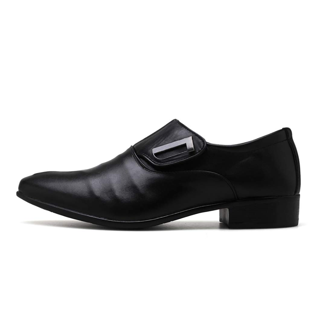 Black Mzq-yq Male British Pointed shoes Men's Wedding shoes Large Size Men's Dress shoes European And American Monks shoes