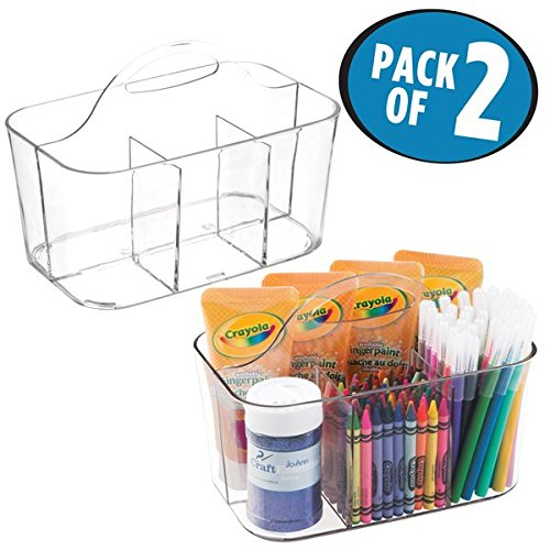 mDesign Art Supplies, Crafts, Crayons and Sewing Organizer Tote – Pack of 2, Clear …