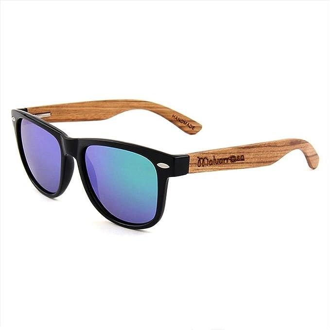 Malvarrosa Sunglasses TER-Black Gafas de sol, Negro/Bambú/Azul, 48 Unisex