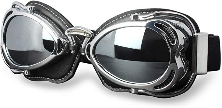 Silver Frame Vintage Motorcycle Scooter Helmet Goggles Wind Dust Proof Glasses