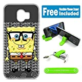 [Ashley Cases] for Galaxy [A6 2018] Cover Case Skin with Free Flexible Clip - Spongebob Nerd G