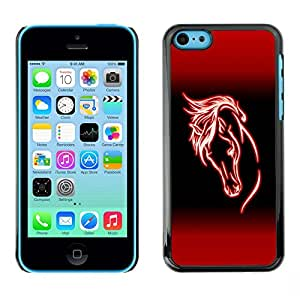 Impact Case Cover with Art Pattern Designs FOR iPhone 5Cs Horse Red Neon Mane Animal Riding Betty shop