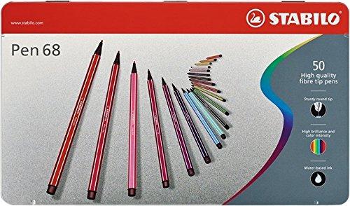 (Stabilo Pen 68 Metal Tin, 50-Color Set)
