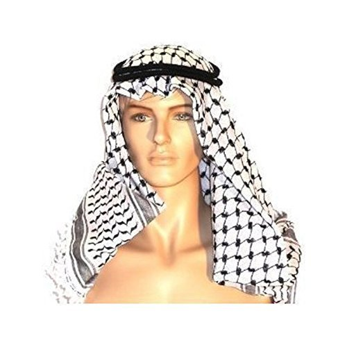 Authentic Large Middle Eastern Arab Kafiya Keffiyeh with Aqel Rope by Bethlehem Gifts TM, Black/White, Large and X-Large