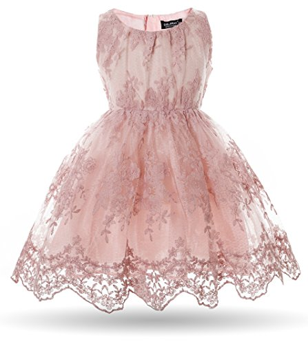 CIELARKO Girls Dress Kids Flower Lace Wedding Party Dresses for 1-7 Years (5-6 Years) ()