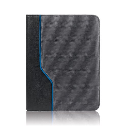 Solo Classic Collection iPad and e-Reader Jacket with Zipper, 9.7 Inches, Black and Blue, - Microsuede Jacket Lined