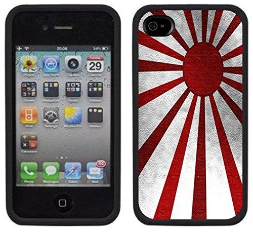 Drapeau Japon soleil levant | Fait à la main | iPhone 4 4s | Etui/Housse noir