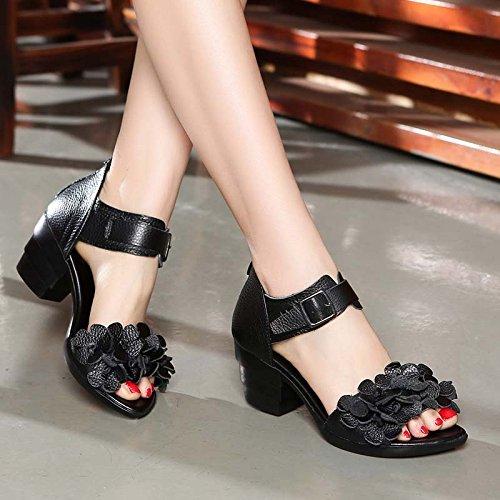 Baile Antiguos Madre Zapatos transpirable Suave Calzado mujer De Zapatos black HBDLH cómodo Grueso Sandalias Fondo de Flores De qaBxg8