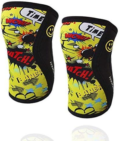 BB BANBROKEN Knieschützer Yellow Fun Knie Ärmel 5 mm - Stabilität für die Knie für Crossfit, Gymnastik, Fitness, Gewichtheben, Running. Für Frauen und Männer (2 Einheiten)
