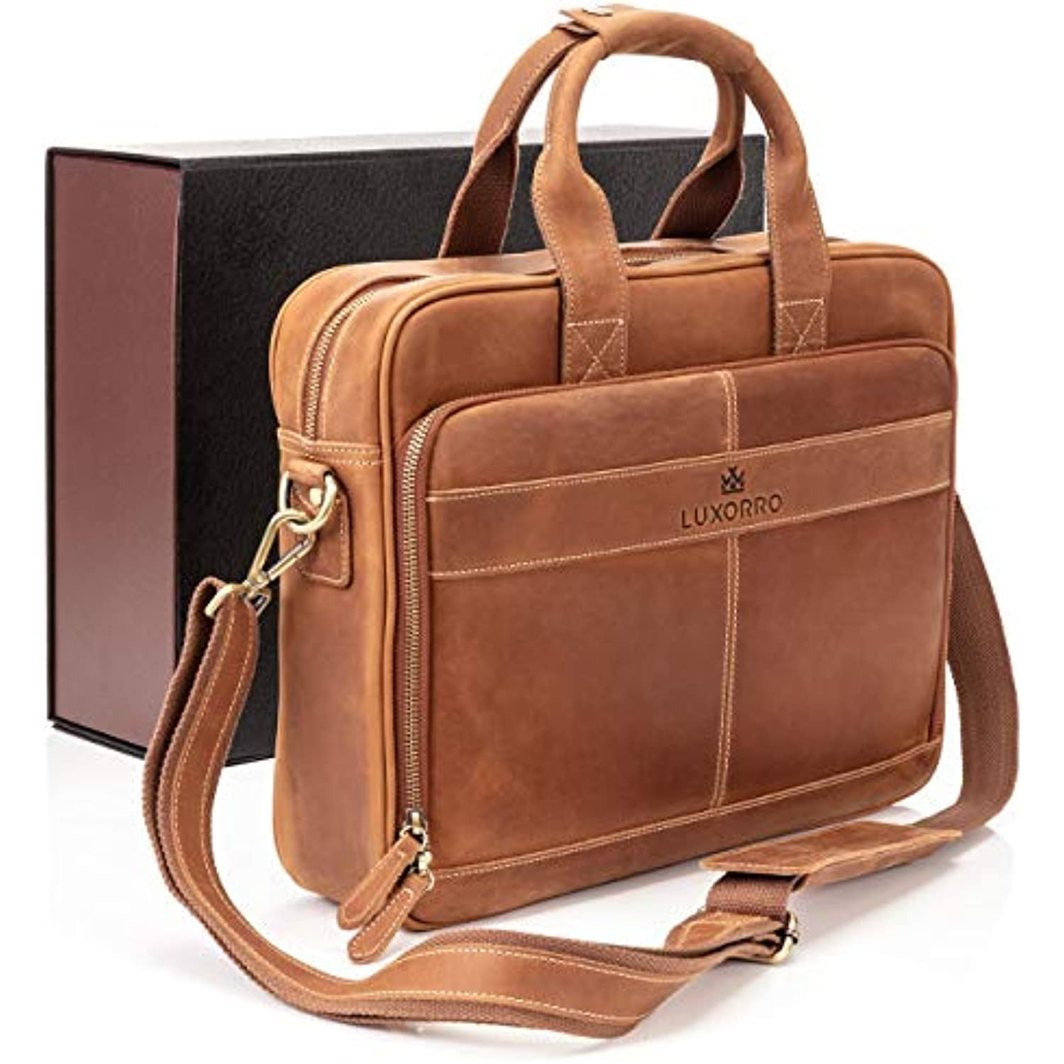 Luxorro Leather Briefcases For Men   Soft, Full Grain Leather Laptop Bag For Men W/hand Stitching That Will Last A Lifetime   Slim But Spacious   Fits 15.6-inch Laptops, Light Brown