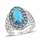 925 Sterling Silver Platinum Plated Oval Sleeping Beauty Turquoise, Electric Blue Topaz Band Ring Size 10