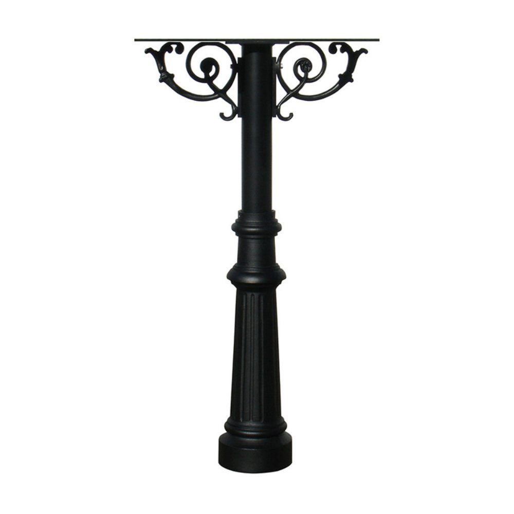 The Hanford Cast Aluminum Triple Mailbox Post System with Fluted Base, Mounting Brackets and Scroll Supports, Mailboxes Sold Separately, Ships in 2 boxes