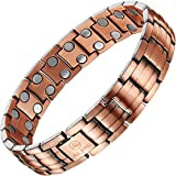 (US) Copper Bracelet Fashion Healthy Unisex Magnetic Pure Copper Double Row Therapy Bracelet Pain Relief for Arthritis