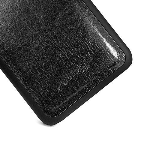Alston Craig Magnetic Shell Ersatz Vintage Leder Tasche & Stift für Apple iPhone 8 - Schwarz