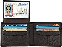 Wallet for Men-Genuine Leather RFID Blocking Bifold Stylish Wallet With 2 ID Window (Coffee-Pebble Leather)