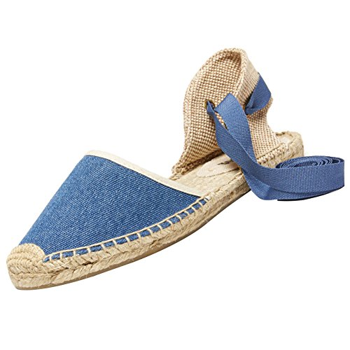 rismart Women's Slingback Flat Heel Espadrilles Sandals Shoes SN02351(Blue,7.5 B(M) US)