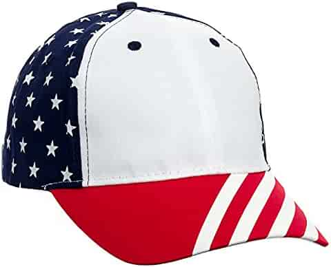 57dbed4e01d MG Cotton Twill USA Flag 6 Panel Baseball Cap Hat (Red White Blue