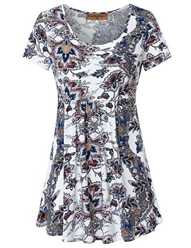 Meow Meow Lace Women's Scoop Neck Short Sleeve Print Tunic Tops Empire Waist Peplum Blouse Grey Blue - Top Lace Empire Waist