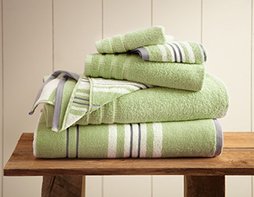 Stripe Sage Green (Amrapur Overseas 6-Piece Yarn Dyed Racer Stripe Jacquard/Solid Ultra Soft 500GSM 100% Combed Cotton Towel Set [Sage Green])