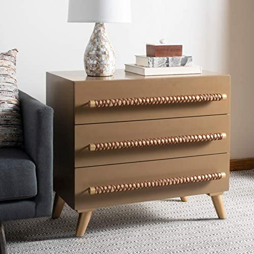 Safavieh Home Raquel Modern Taupe and Gold and Brown 3-drawer Chest