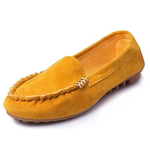 Mocasines de Base y Pisos Casual Zapatos sólidos Antideslizante en Mocasines Zapatos cómodos en Mujeres señoras Gamuza Mocasines: Amazon.es: Zapatos y ...