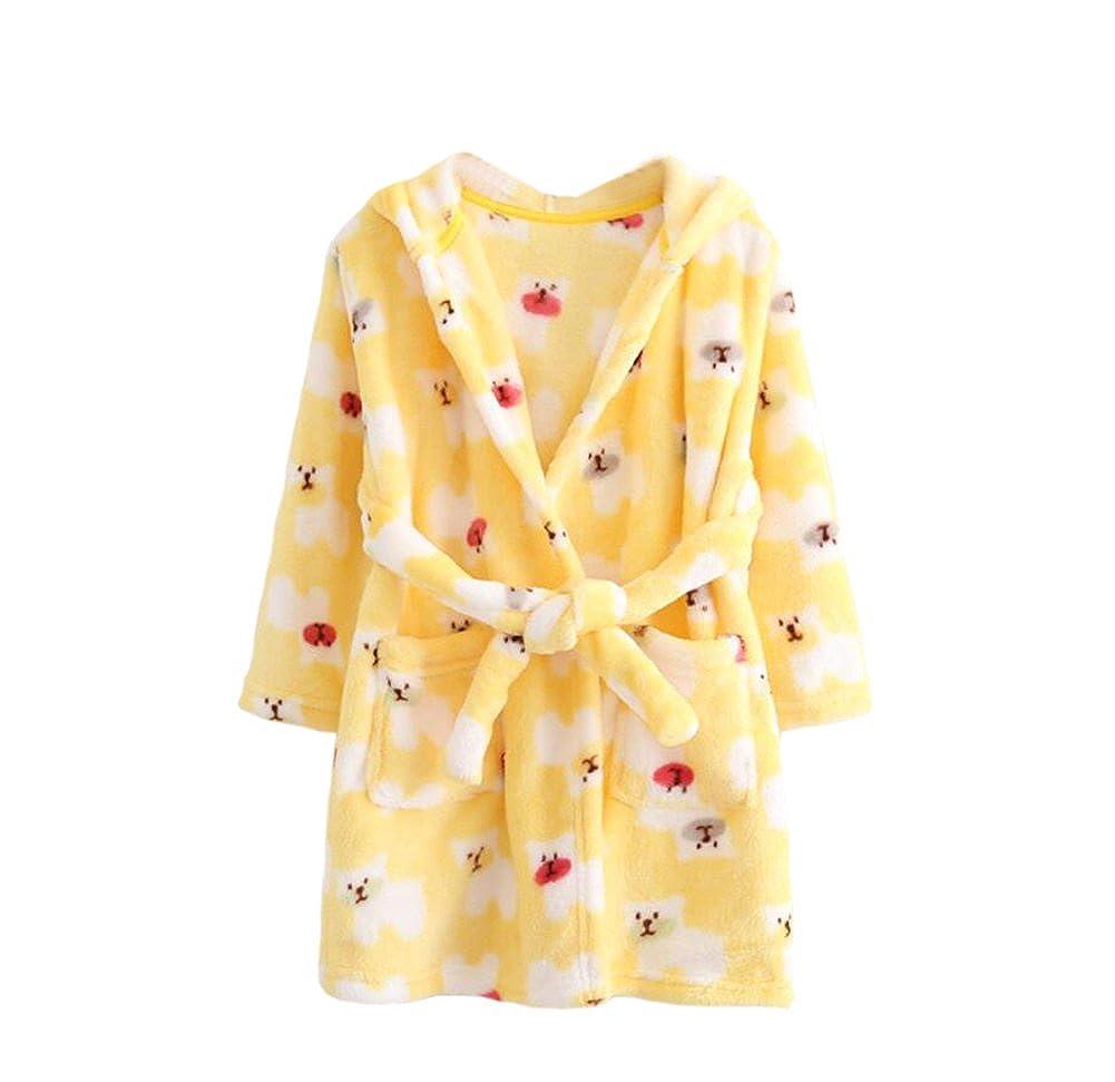 Ruth Wang Toddler Baby Winter Fleece Hooded Bathrobes Pajamas Sleepwear Dressing Gown