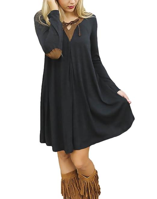 Vestidos De Fiesta Mujer Cortos Elegantes Manga Larga Splice Vestido Camisetas Una Línea Con Volantes Negras