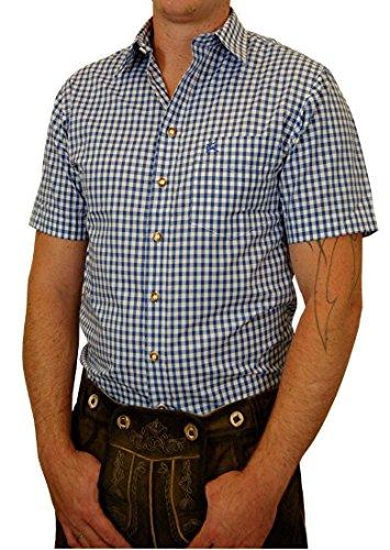 Edles Trachtenhemd Regular Fit Kurzarm kariert mit Stick auf der Brusttasche - Farbe wählbar -, Größe:Halsgröße 45/46 (XXL);Farben:blau
