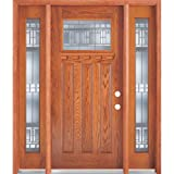 Classic Estate Doors BB74301-12SL-PA-MO-LH 12-Inch Square Top Lite Decorative Door with Sidelites, Left Hand Swing, Patina/Prefinished Medium Oak