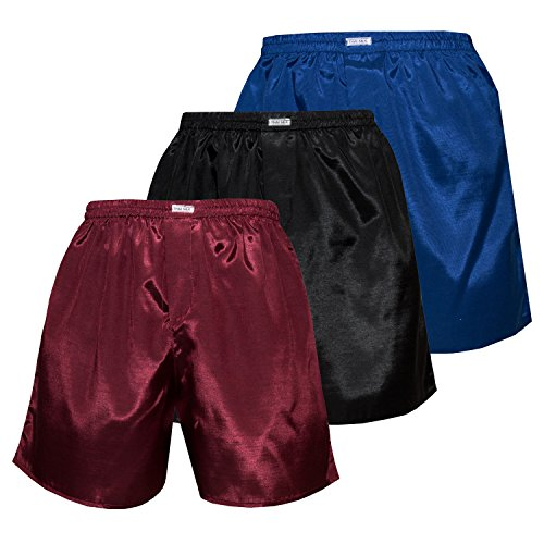 Men's Underwear Sleepwear Thai Silk Boxer Shorts Color Mix Pack of 3 (L, Blue Black Burgundy)