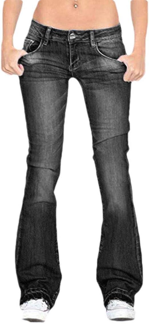 VITryst レディースフレアフィットネスカジュアルミドルウエストジーンズ ポケット付き