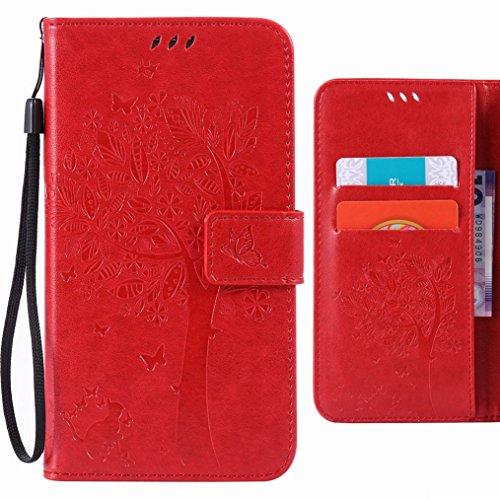 Custodia Sony Xperia XA Ultra / F3212, F3216 Cover Case, Ougger Alberi Gatto Printing Portafoglio PU Pelle Magnetico Stand Morbido Silicone Flip Bumper Protettivo Gomma Shell Borsa Custodie con Slot p