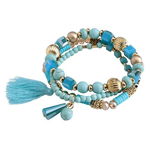 (Aokarry Acrylic Glass Elastic Bracelet For Women Rope Tassel Pendant Beads Bracelets Alloy Blue)