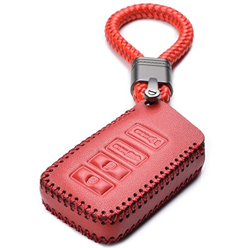 Vitodeco Lexus 4 Buttons Leather Keyless Entry Remote Control Smart Key Case Cover With Braided Leather Key Chain  Red