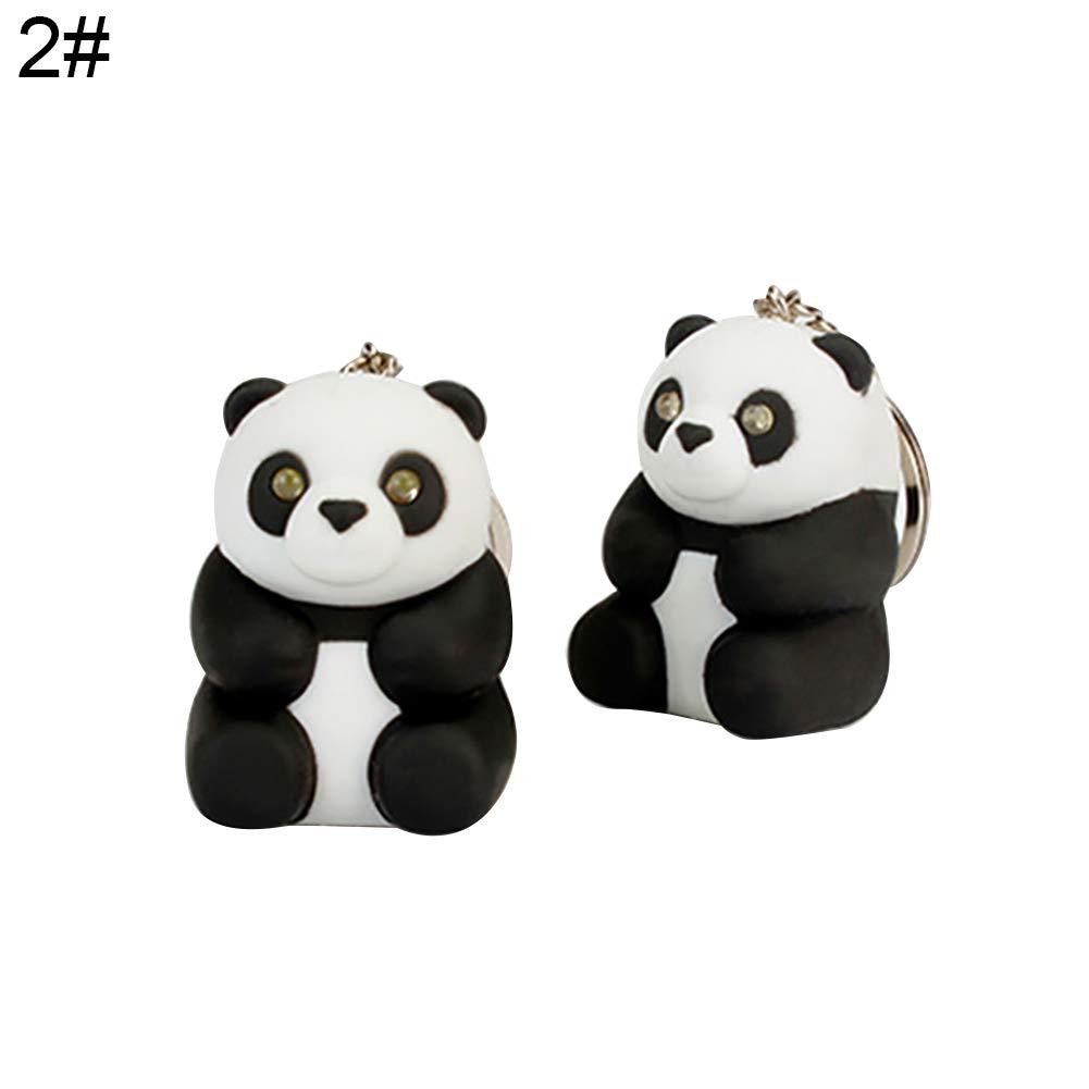 Slendima Cute Panda Pendant LED Sound Keychain Fashion Car Key Ring Handbag Hanging Decor Gift 2#