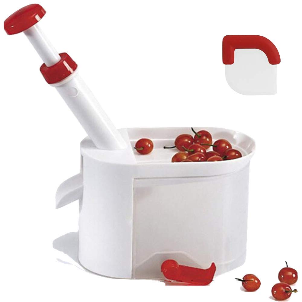 Cherry Pitter Tool By Culina Box-Seed Pitter-Keeps All Seeds Clean In One Container With No Stain On Your Kitchen Counter No Matter How Much Bunch Of Cherries You Seed OutThat Comes With Pan Scraper by CulinaBox