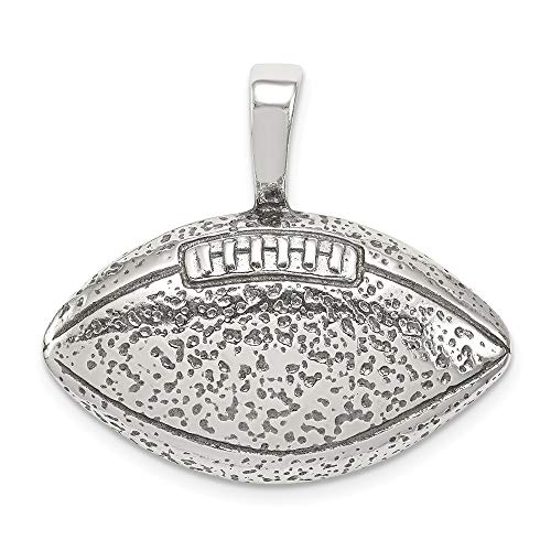 (Mia Diamonds 925 Sterling Silver Solid Antiqued Football Pendant (28mm x 28mm))
