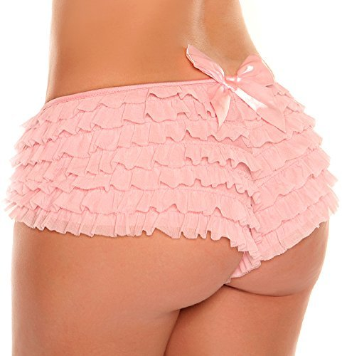 Panty Shapers Satin (Daisy Corsets Women's Plus-Size Mesh Ruffle Shorts with Bow Plus, Baby Pink, 3X)