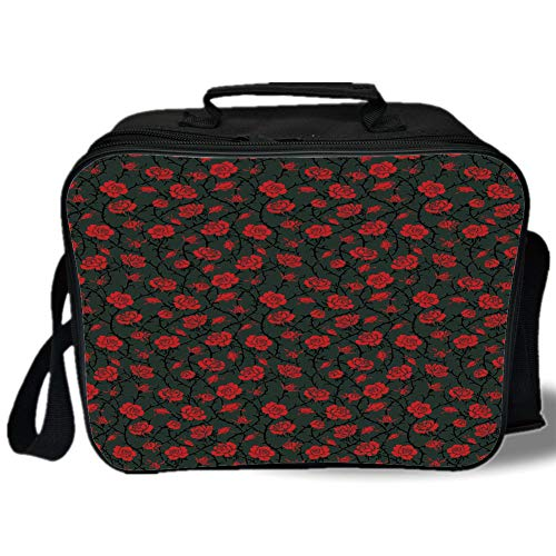 Insulated Lunch Bag,Red and Black,Rose Swirls Ivy Plants Dark Mysterious Forest Themed Pattern,Charcoal Grey and Ruby,for Work/School/Picnic, Grey