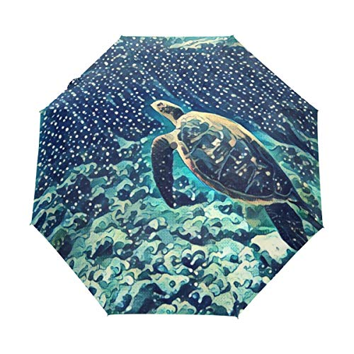 ANINILY Sea Turtle Swimming Underwater 3 Folds Auto Open Close Umbrella, Black Glue Anti UV Coating, Compact Folding Umbrellas for Women Men