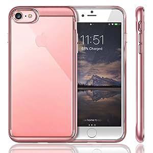 iVAPO iPhone 7 Funda Transparente Carcasa Silicona iPhone 7 Case TPU + PC (Rosa)