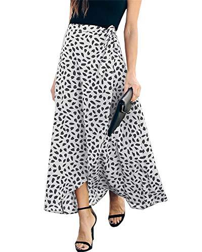 Ofenbuy Womens Wrap Maxi Long Skirt Polka Dot Side Split High Waist Elegant Summer Casual Skirts White